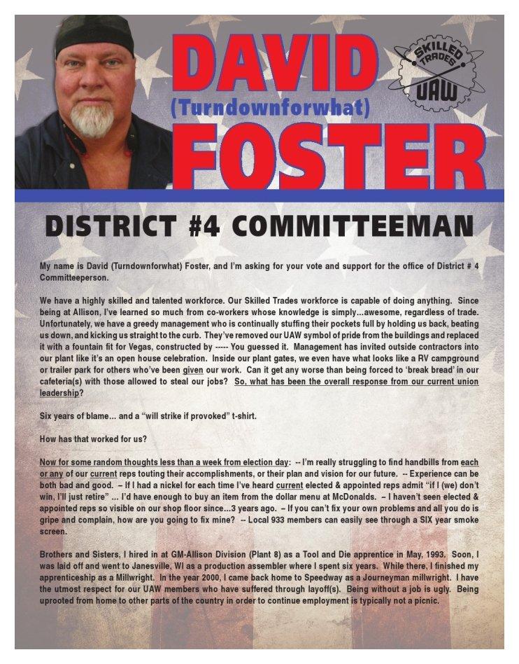 David Foster Handbill Obv