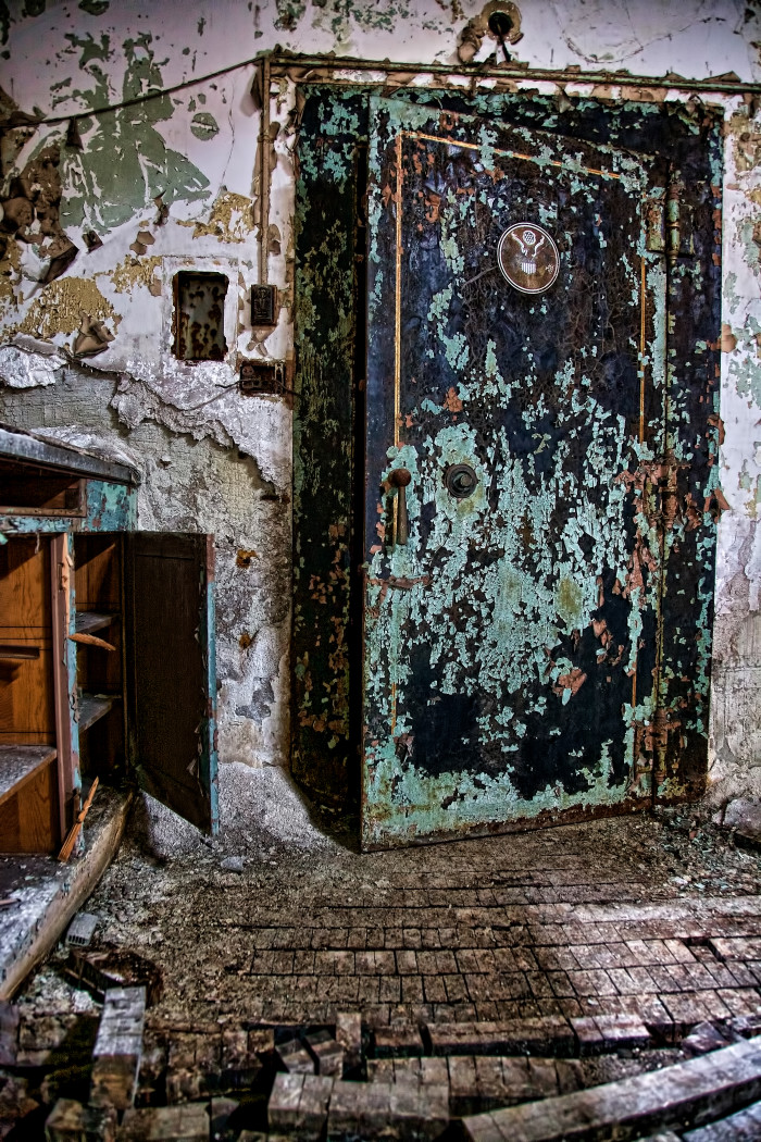 An old door in an abandoned post office in Gary, Indiana.