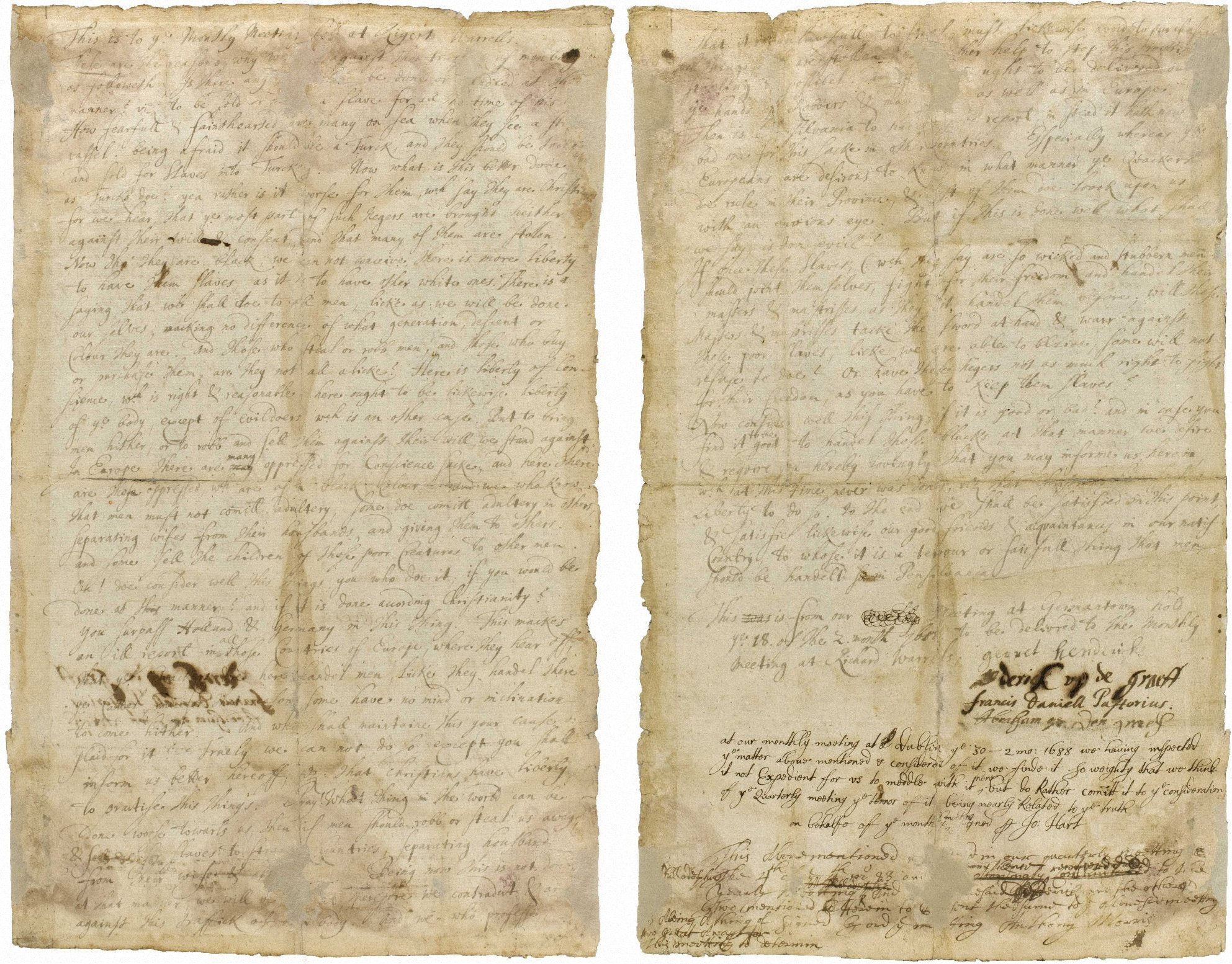 The 1688 Germantown Quaker petition against slavery