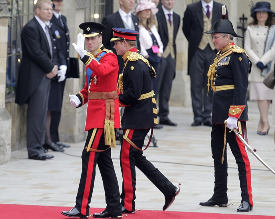 Britain's Prince William, left, and his best man Britain's Prince Harry arrive at Westminster Abbey at the Royal Wedding in London Friday, April, 29, 2011. (AP Photo/Alastair Grant)